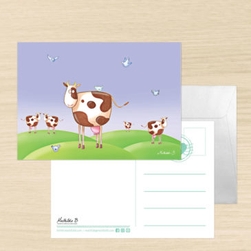 Carte Postale + enveloppe «Vache»