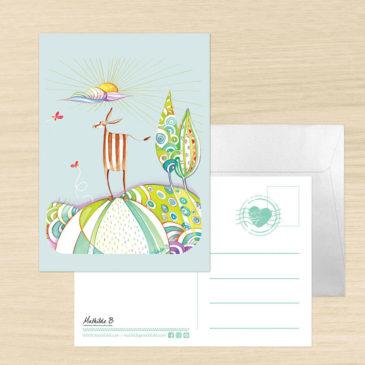 Carte Postale + enveloppe «Gazelle»
