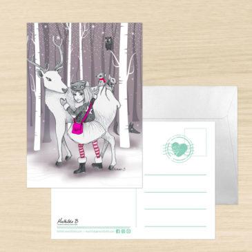Carte de voeux + enveloppe «Neige»