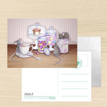 Carte Postale + enveloppe «Souris Party»