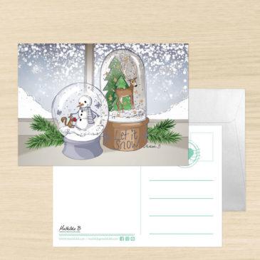Carte de voeux + enveloppe «Boule à Neige»
