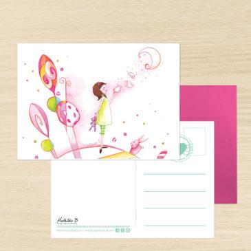 Carte Postale + enveloppe «Les rêves de Lucie»