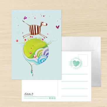 Carte Postale + enveloppe «Zéli le zèbre»