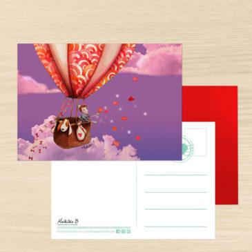 Carte Postale  + enveloppe «Montgolfière»