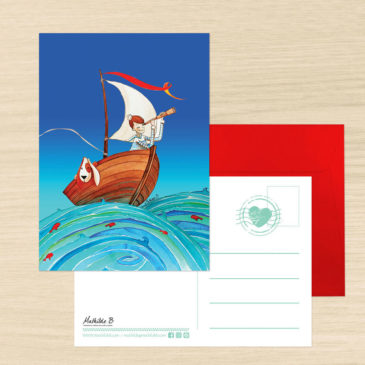 Carte Postale + enveloppe «Noé et Titou, à la découverte de l'océan»