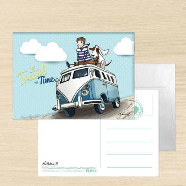 Carte Postale + enveloppe «Noé et Titou, en route pour de nouvelles aventures»