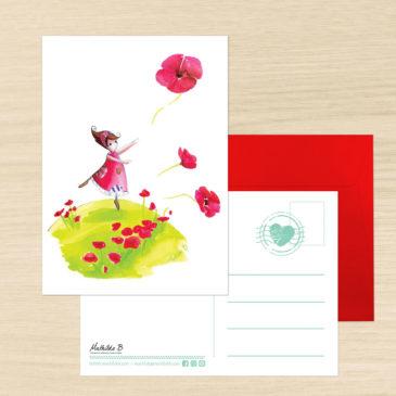 Carte Postale + enveloppe «Coquelicot»