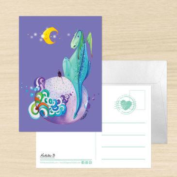 Carte Postale + enveloppe «Léon le dragon»