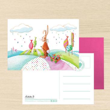 Carte Postale + enveloppe «Valentin le lapin»