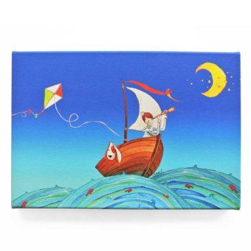 Toile murale enfant «Noé et Titou, à la découverte de l'océan»