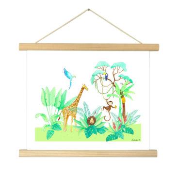 """Affiche """"Jungle fond blanc"""" illustrée Mathilde.B - Baguettes d'encadrement en bois naturel"""
