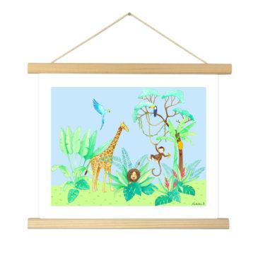 """Affiche """"Jungle fond bleu"""" illustrée Mathilde.B - Baguettes d'encadrement en bois naturel"""