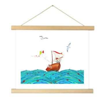 """Affiche """"Marin"""" illustrée Mathilde.B - Baguettes d'encadrement en bois naturel"""