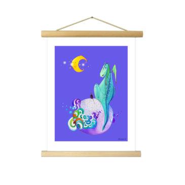 """Affiche """"Léon le dragon"""" illustrée Mathilde.B - Baguettes d'encadrement en bois naturel"""
