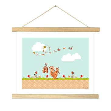 """Affiche """"écureuil"""" illustrée Mathilde.B - Baguettes d'encadrement en bois naturel"""