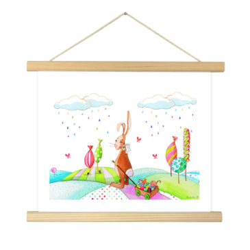 """Affiche """"Valentin le lapin"""" illustrée Mathilde.B - Baguettes d'encadrement en bois naturel"""