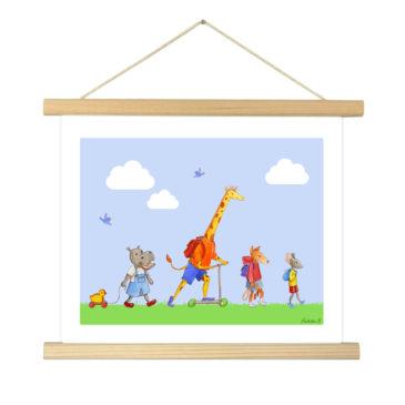 """Affiche """"Rentrée des classes"""" illustrée Mathilde.B - Baguettes d'encadrement en bois naturel"""