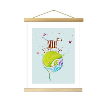 """Affiche """"Zéli le zèbre"""" illustrée Mathilde.B - Baguettes d'encadrement en bois naturel"""