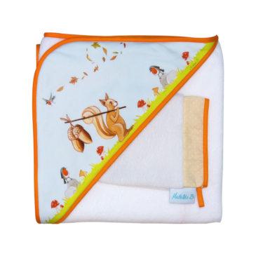 cape de bain et gant de toilette écureuil en fibre de bambou illustration Mathilde.B