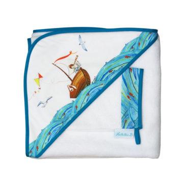 cape de bain Noé le marin en fibre de bambou. Fabriqué en France. Illustration Mathilde.B