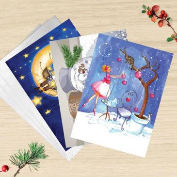 Lot de 3 cartes de voeux avec enveloppes. Illustration Mathilde B