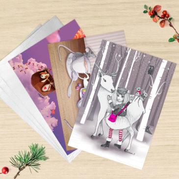 lot de 3 cartes de voeux illustrations Mathilde B