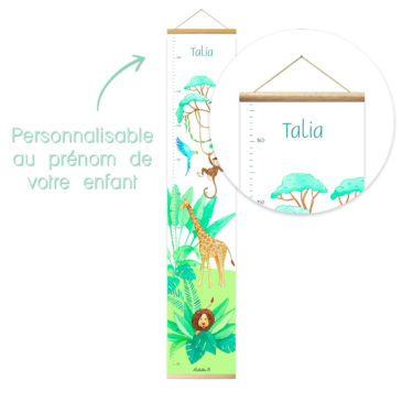 Toise murale personnalisable Mathilde.B. Fabrication Francaise