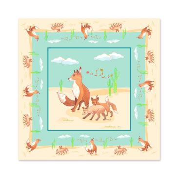 Tapis de sol renard. Illustration Mathilde.B. Fabrication française