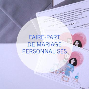 faire part de mariage personnalisé et illustré par Mathilde B