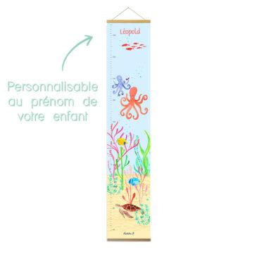 Toise murale «Léopold le poulpe» personnalisée