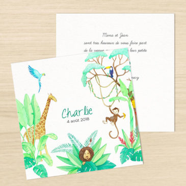 Faire-part de naissance « jungle »