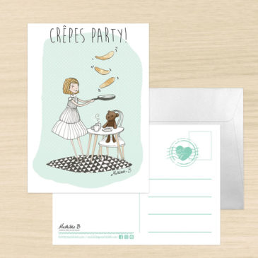 carte postale crêpe party illustration mathilde B