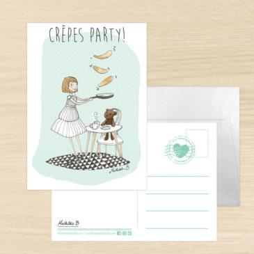 carte postale crêpe party illustration mathilde B