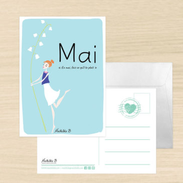 Carte postale dicton du mos de Mai illustration Mathilde B
