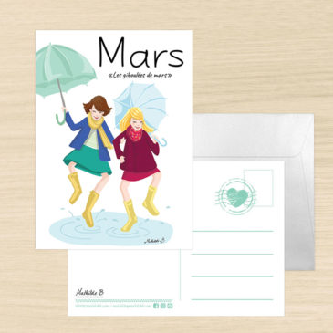 Carte postale dicton du mois de mars illustration Mathilde B
