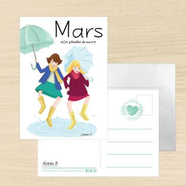 Carte postale dicton du mois de mars illustration Mathilde B