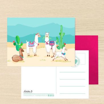 Carte postale Alpaga illustration Mathilde B