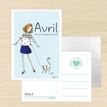 Carte postale mois d'avril dicton illustration Mathilde B