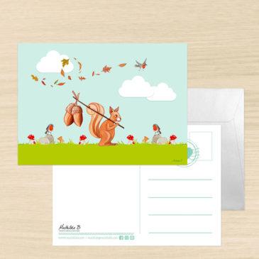 Carte postale écureuil illustrée par Mathilde B