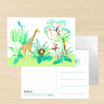 carte postale jungle illustrée par Mathilde B