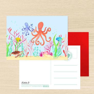carte postale poulpe illustration Mathilde B