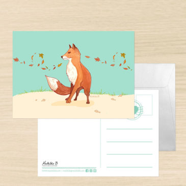 Carte postale renard illustration Mathilde B