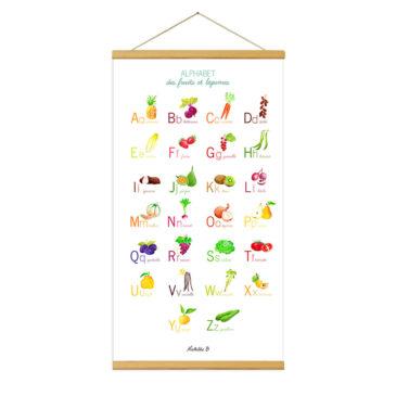 abécédaire fruit et legume. Illustration Mathilde.B. Fait main en France
