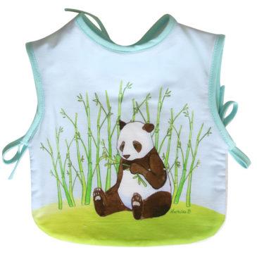 Bavoir tablier panda. Illustration Mathilde B. Fabrication française