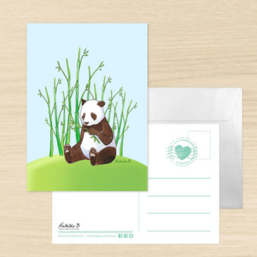 Carte postale Panda. Illustration Mathilde B