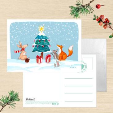 Carte de Voeux + enveloppe «Sapin de Noël»