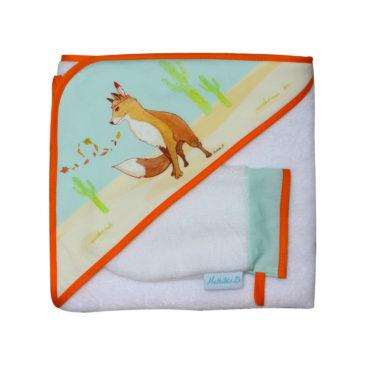 Sortie de Bain et gant de toilette «Léonard le renard» – Éponge en fibre de bambou
